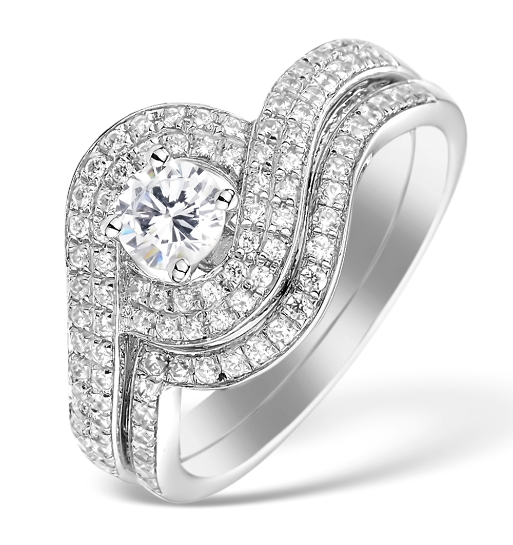 MATCHING DIAMOND ENGAGEMENT - WEDDING RING 1.25CT SI2 18K GOLD DN3244