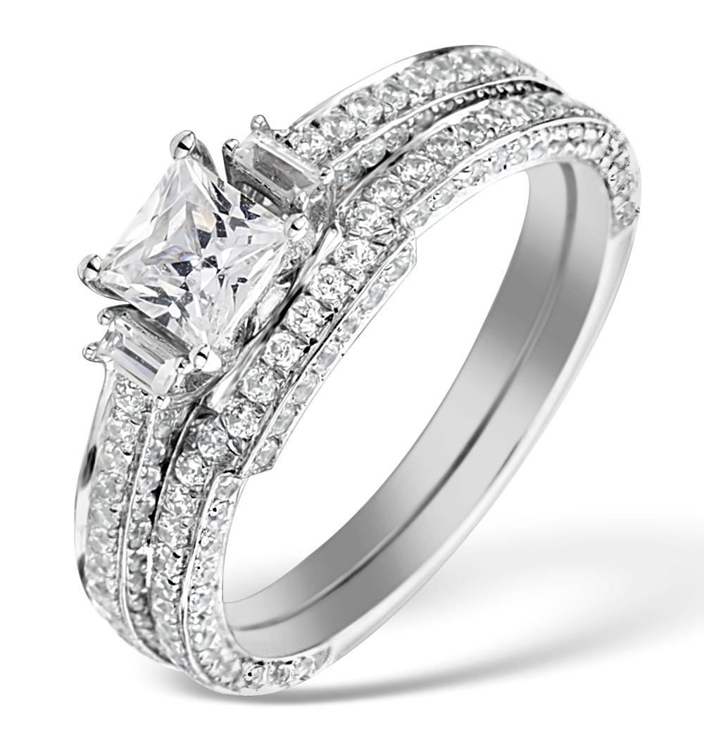 MATCHING DIAMOND ENGAGEMENT - WEDDING RING 1.25CT SI2 18K GOLD DN3246