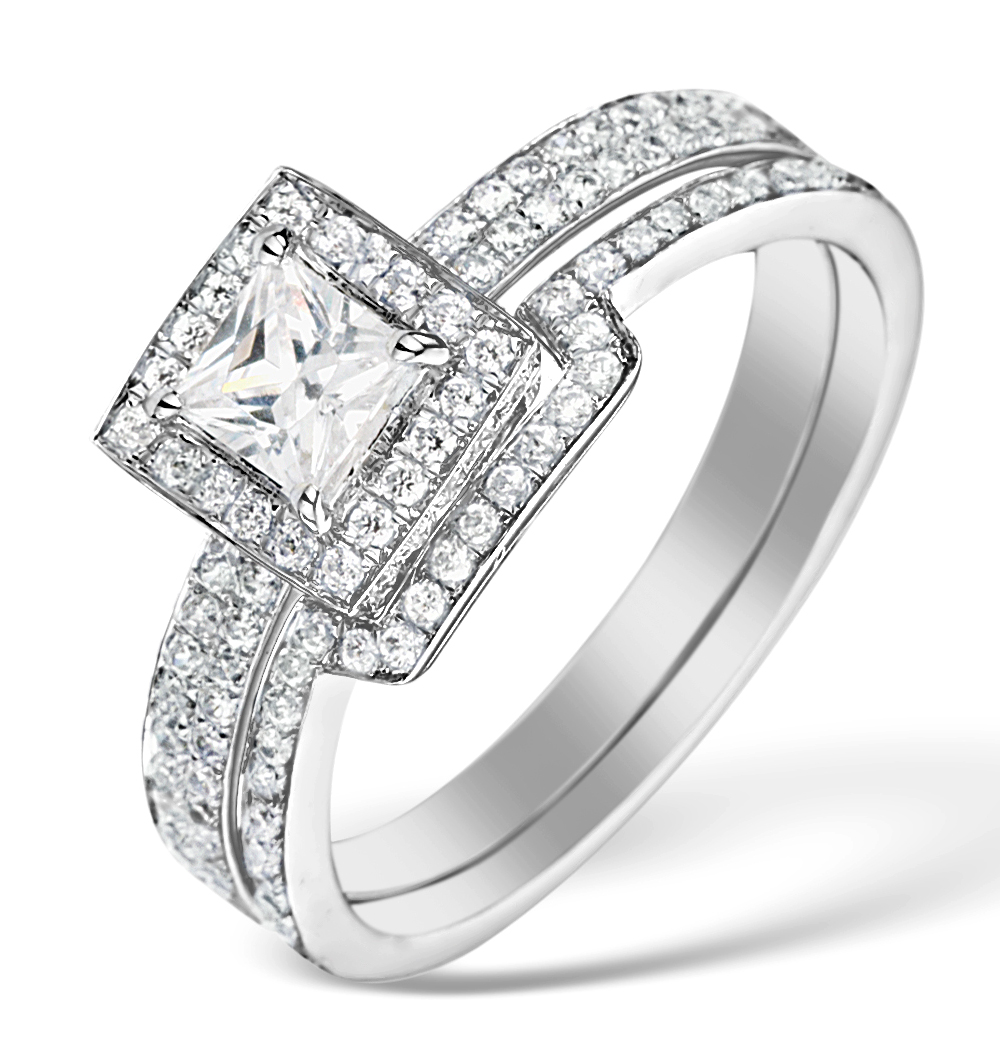 Matching Diamond Engagement and Wedding Ring 1ct SI2 18K Gold - DN3247