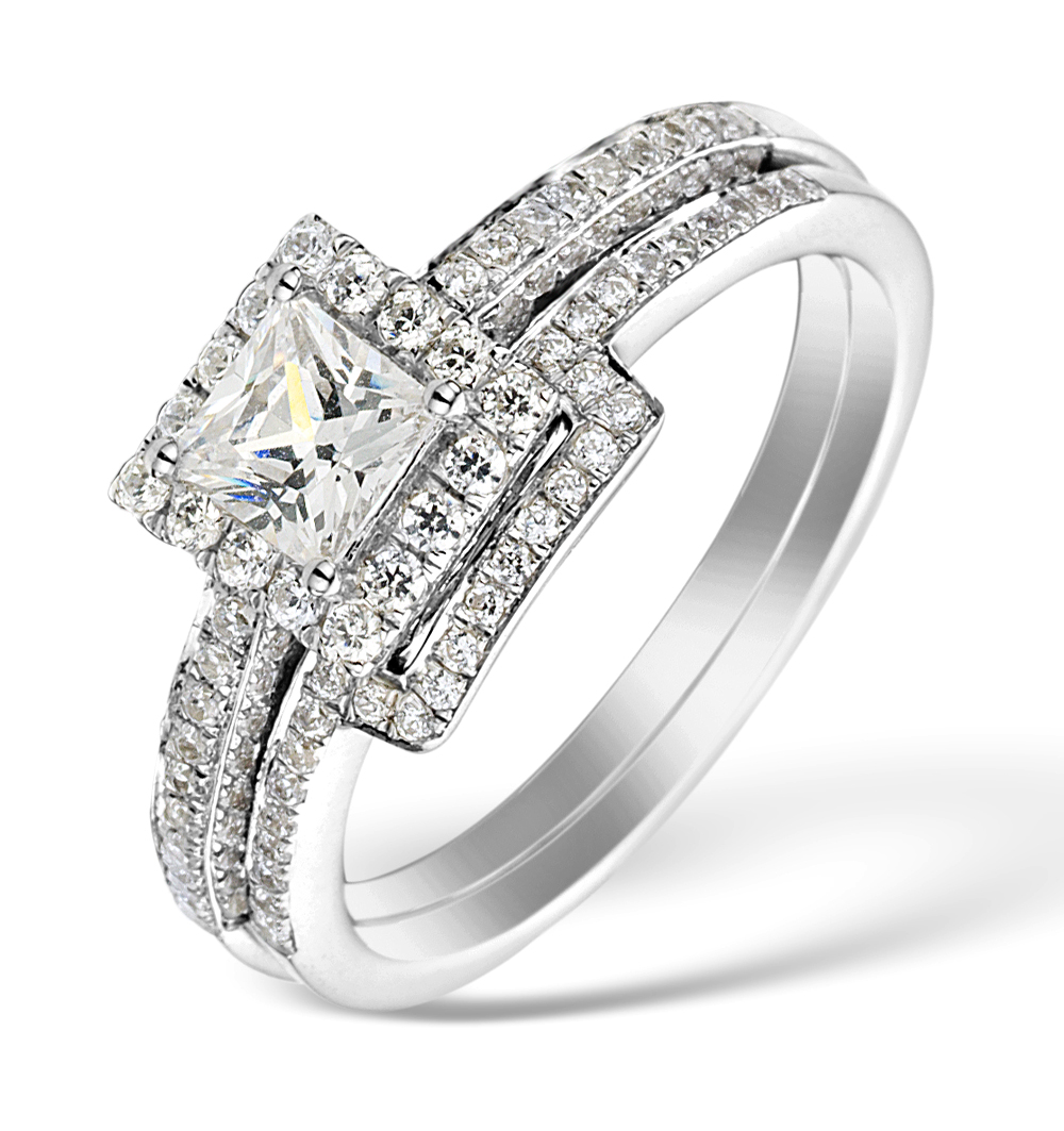 MATCHING DIAMOND ENGAGEMENT AND WEDDING RING 1CT SI2 18K GOLD - DN3248