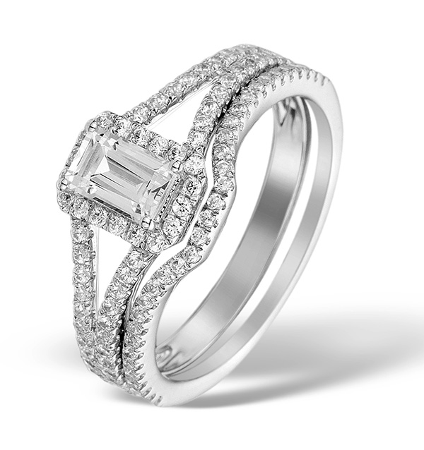 Matching Diamond Engagement and Wedding Ring 1ct SI 18K Gold - DN3241