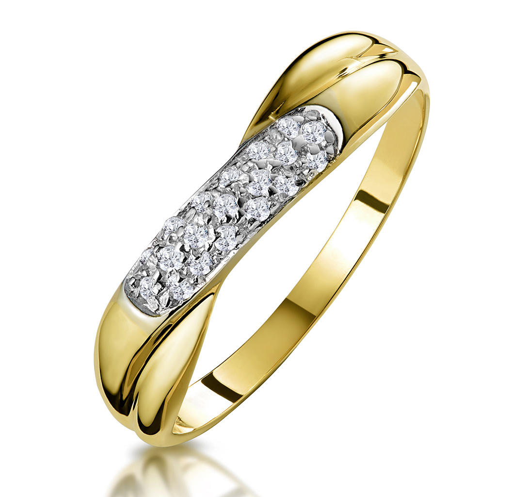 0.16CT DIAMOND CROSSOVER RING IN 9K GOLD