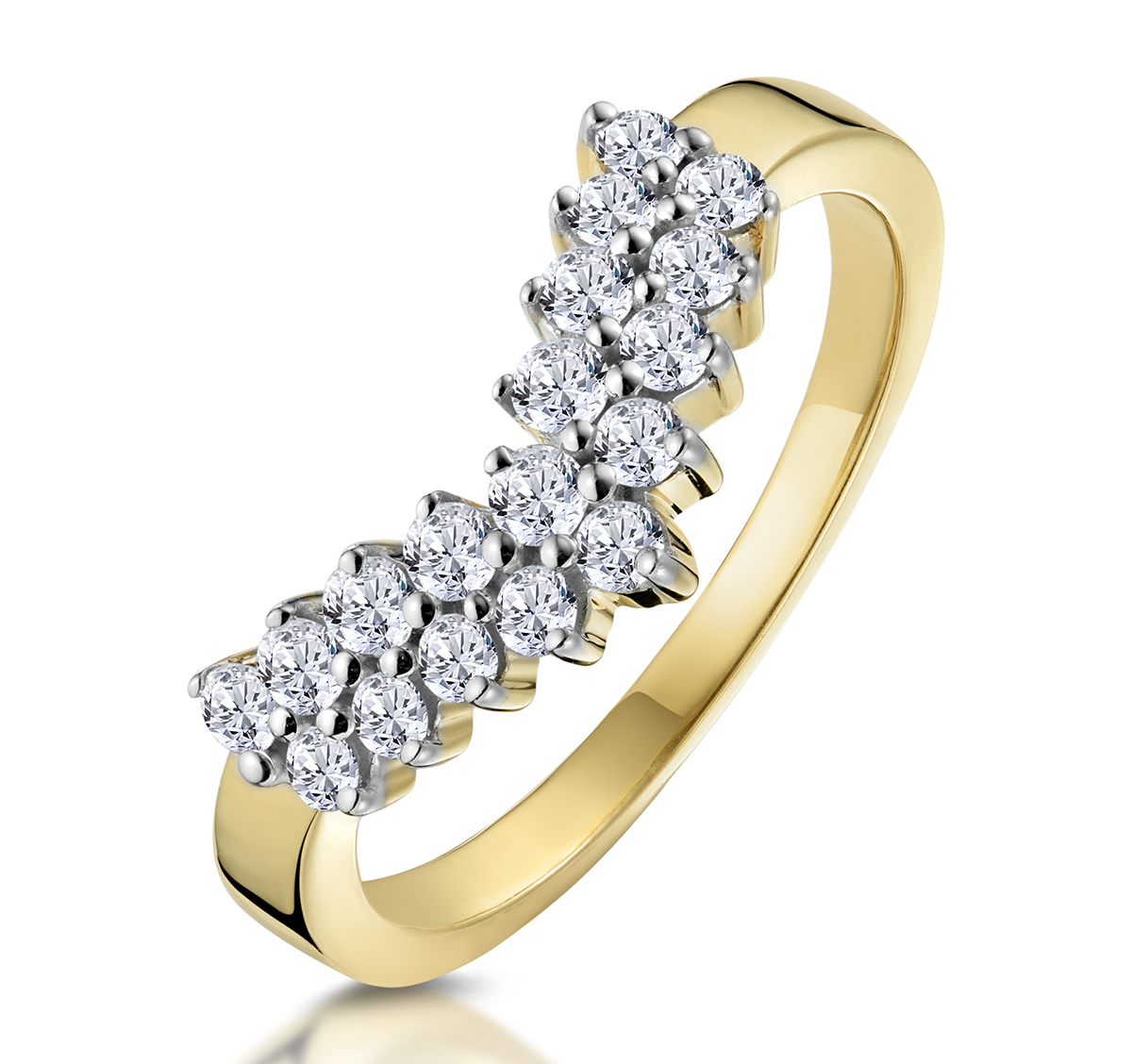 DIAMOND WISHBONE RING 0.45CT IN 9K YELLOW GOLD