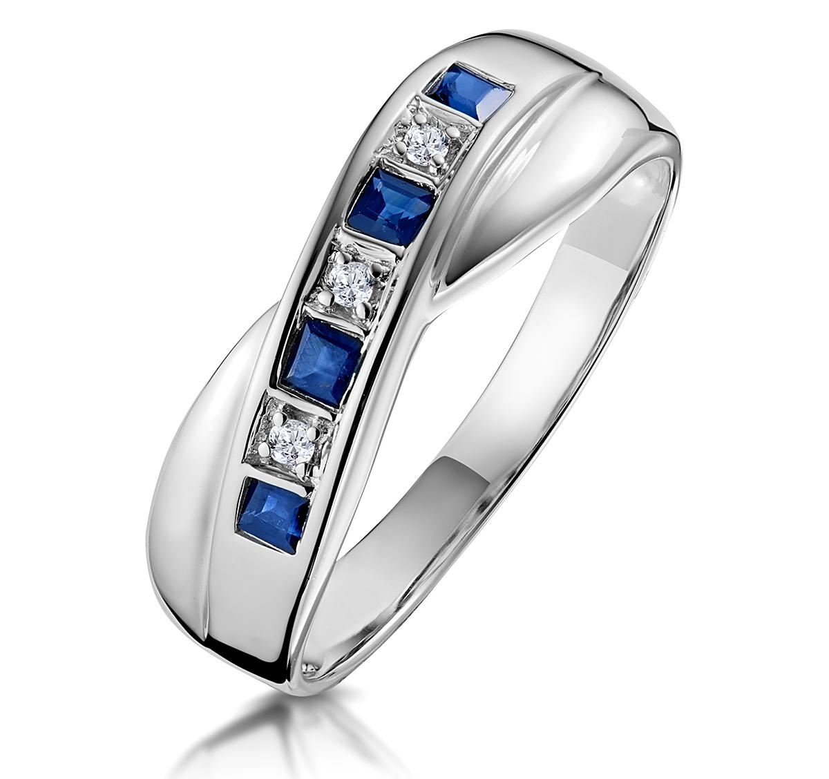 SAPPHIRE 0.45CT AND DIAMOND 9K WHITE GOLD RING