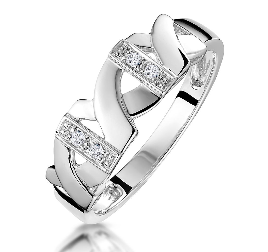 PAVE DIAMOND RING FEATURING KISSES IN 9K WHITE GOLD