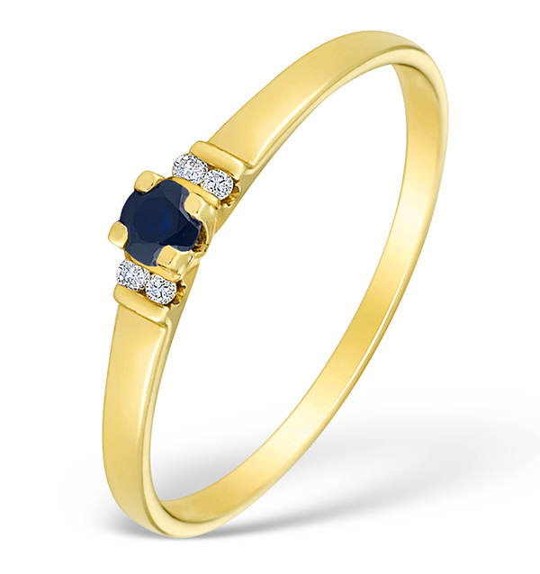 9K GOLD DIAMOND AND SAPPHIRE SOLITAIRE STYLE RING - E4078