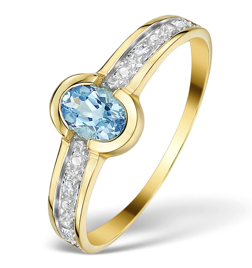 BLUE TOPAZ 0.57CT AND DIAMOND 0.02CT 9K GOLD RING - RTC-E4081