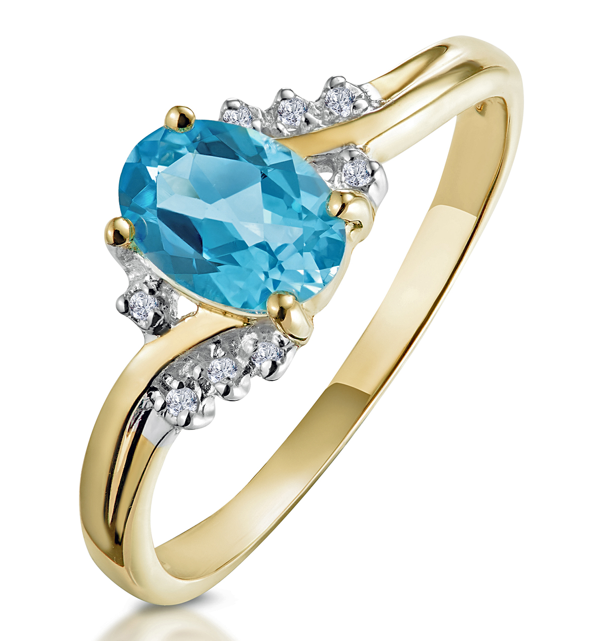 BLUE TOPAZ 0.94CT AND DIAMOND 9K YELLOW GOLD RING