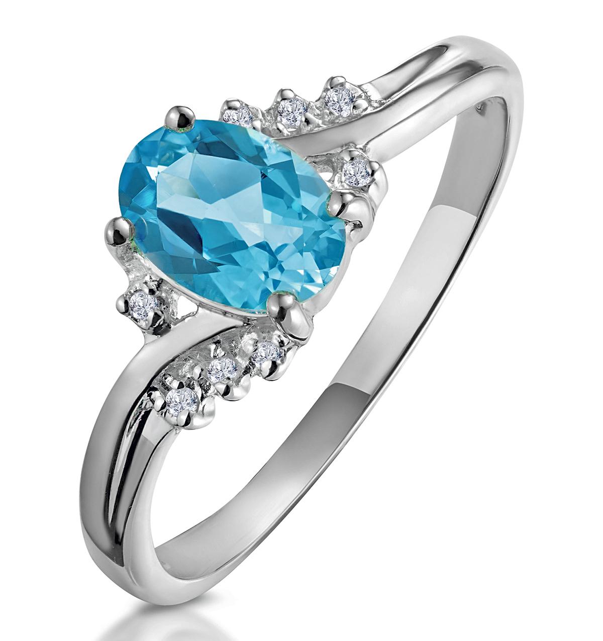 BLUE TOPAZ 0.94CT AND DIAMOND 9K WHITE GOLD RING