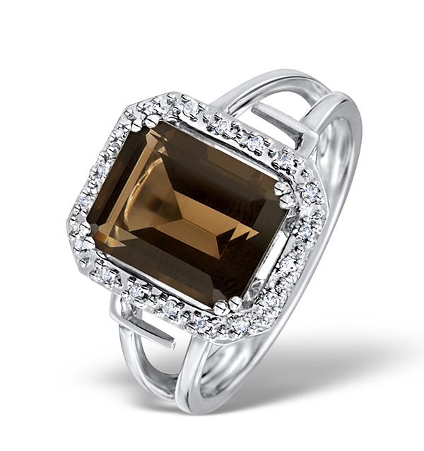 SMOKY QUARTZ 3.28CT AND DIAMOND 9K WHITE GOLD RING