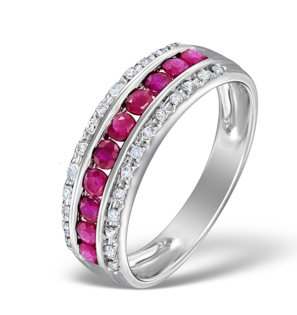 RUBY 0.74CT AND DIAMOND 9K WHITE GOLD RING