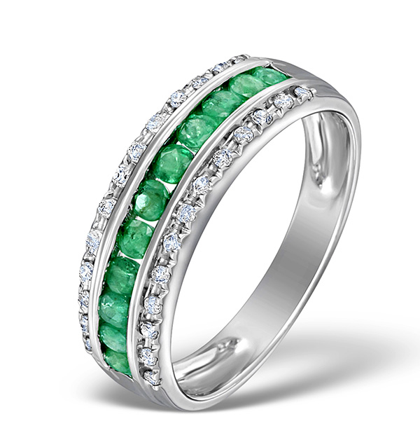 EMERALD 0.56CT AND DIAMOND 9K WHITE GOLD RING
