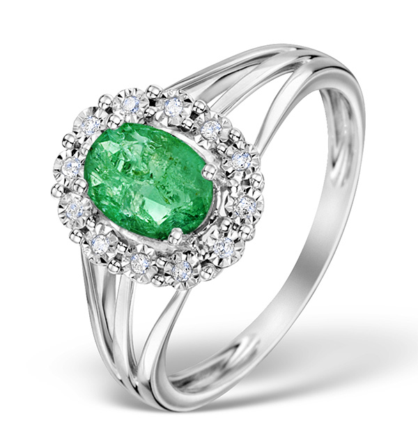 EMERALD 7 X 5MM AND DIAMOND 9K WHITE GOLD RING
