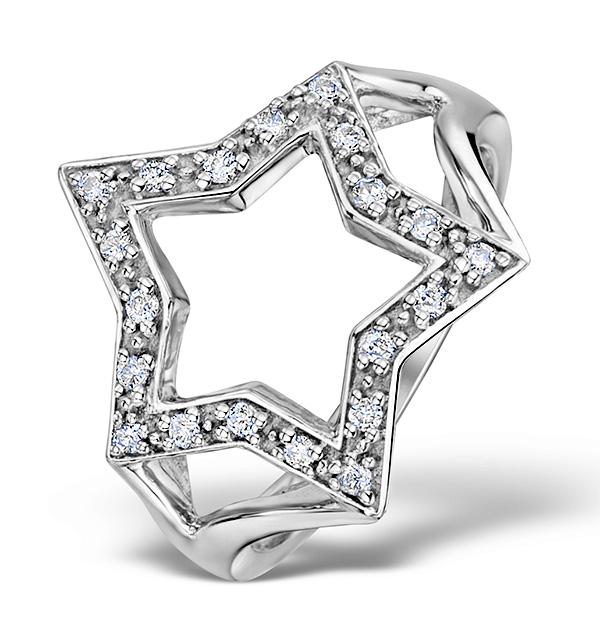 Diamond 0.20ct 9K White Gold Star Ring - E5808