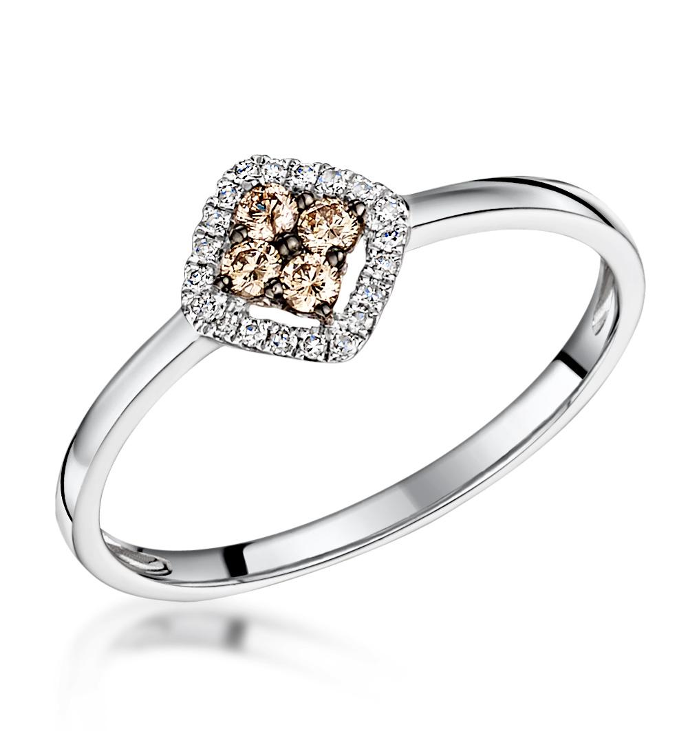 Stellato Brown Halo Diamond Ring 0.15ct in 9K White Gold