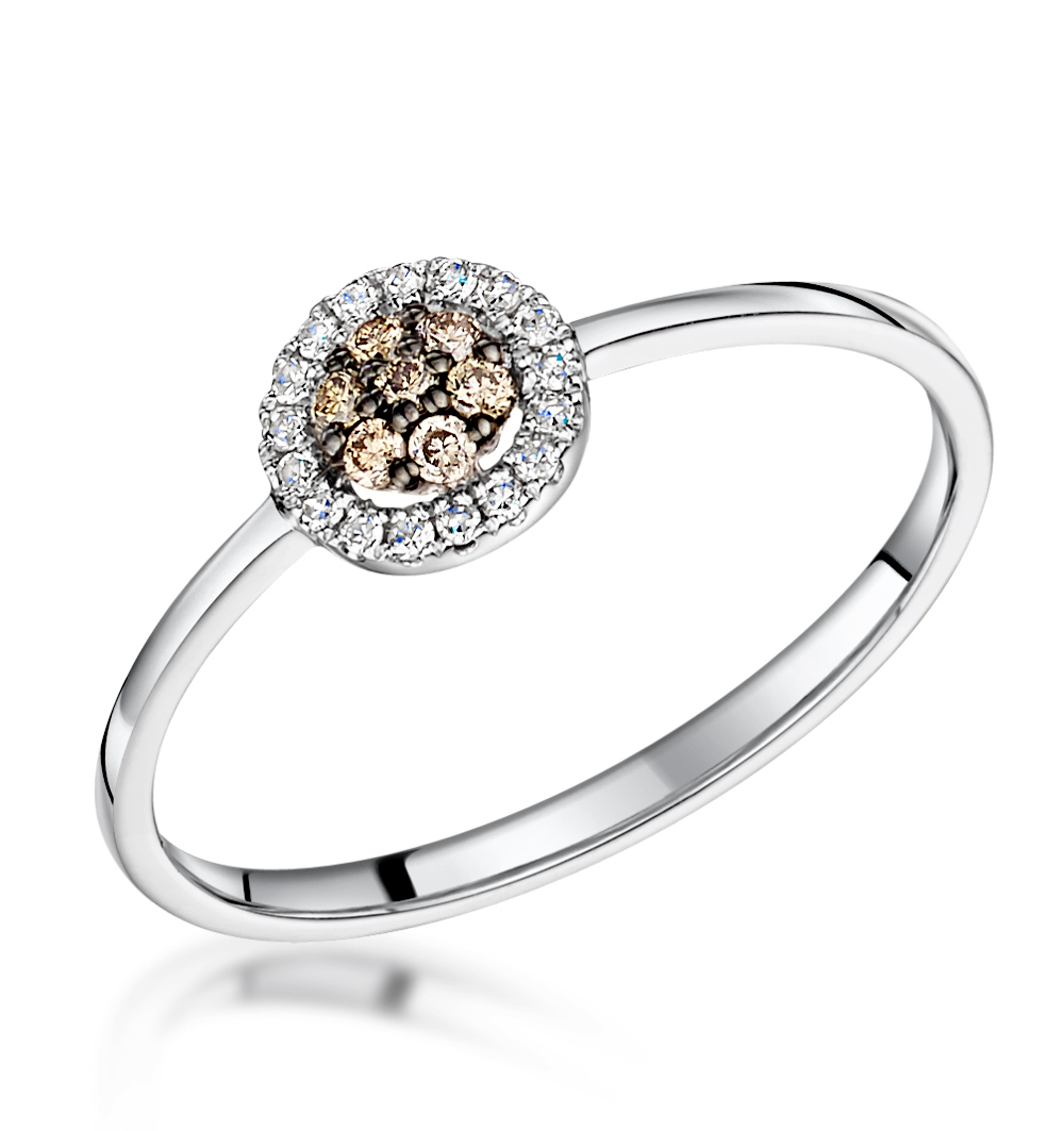 Stellato Champagne Diamond Halo Ring 0.16ct in 9K White Gold
