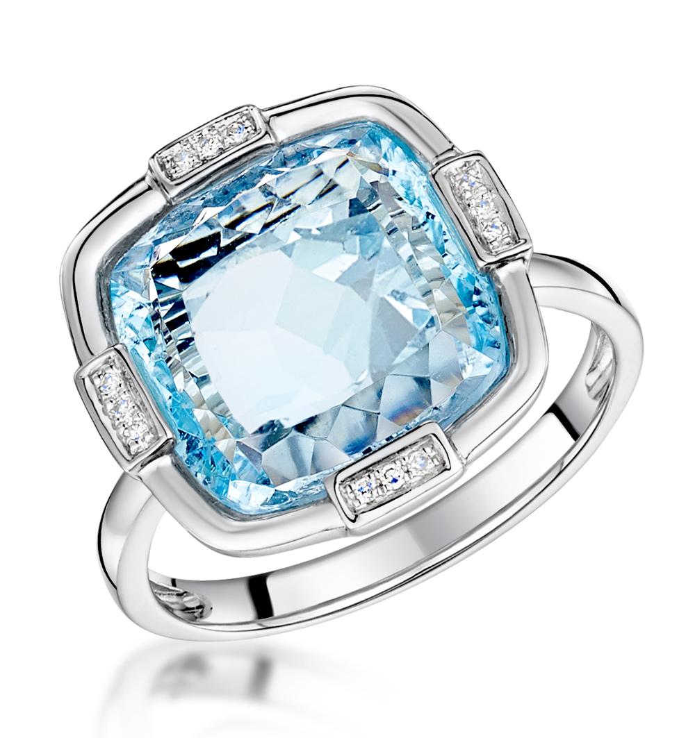 BLUE TOPAZ AND DIAMOND STELLATO RING 0.03CT IN 9K WHITE GOLD