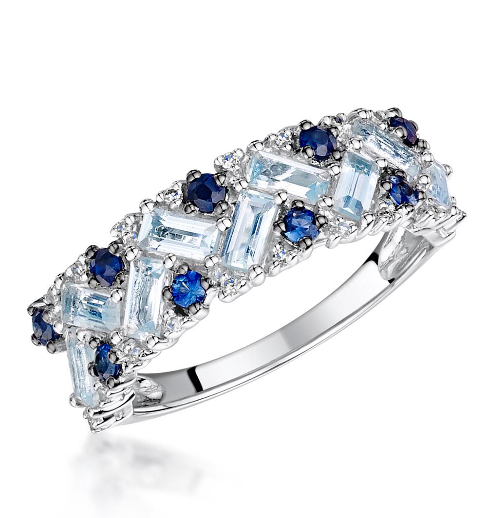 BLUE TOPAZ SAPPHIRE AND DIAMOND STELLATO RING IN 9K WHITE GOLD