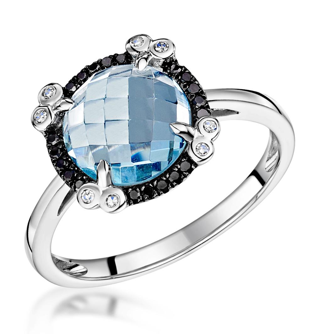 BLUE TOPAZ BLACK DIAMOND AND DIAMOND STELLATO RING IN 9K WHITE GOLD