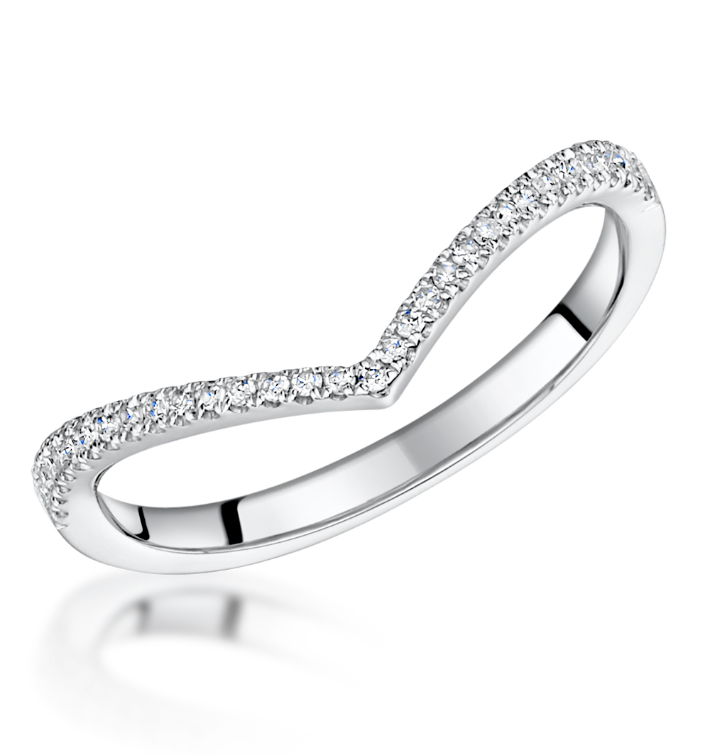 Stellato Collection Diamond Wishbone Ring 012ct in 9K White Gold