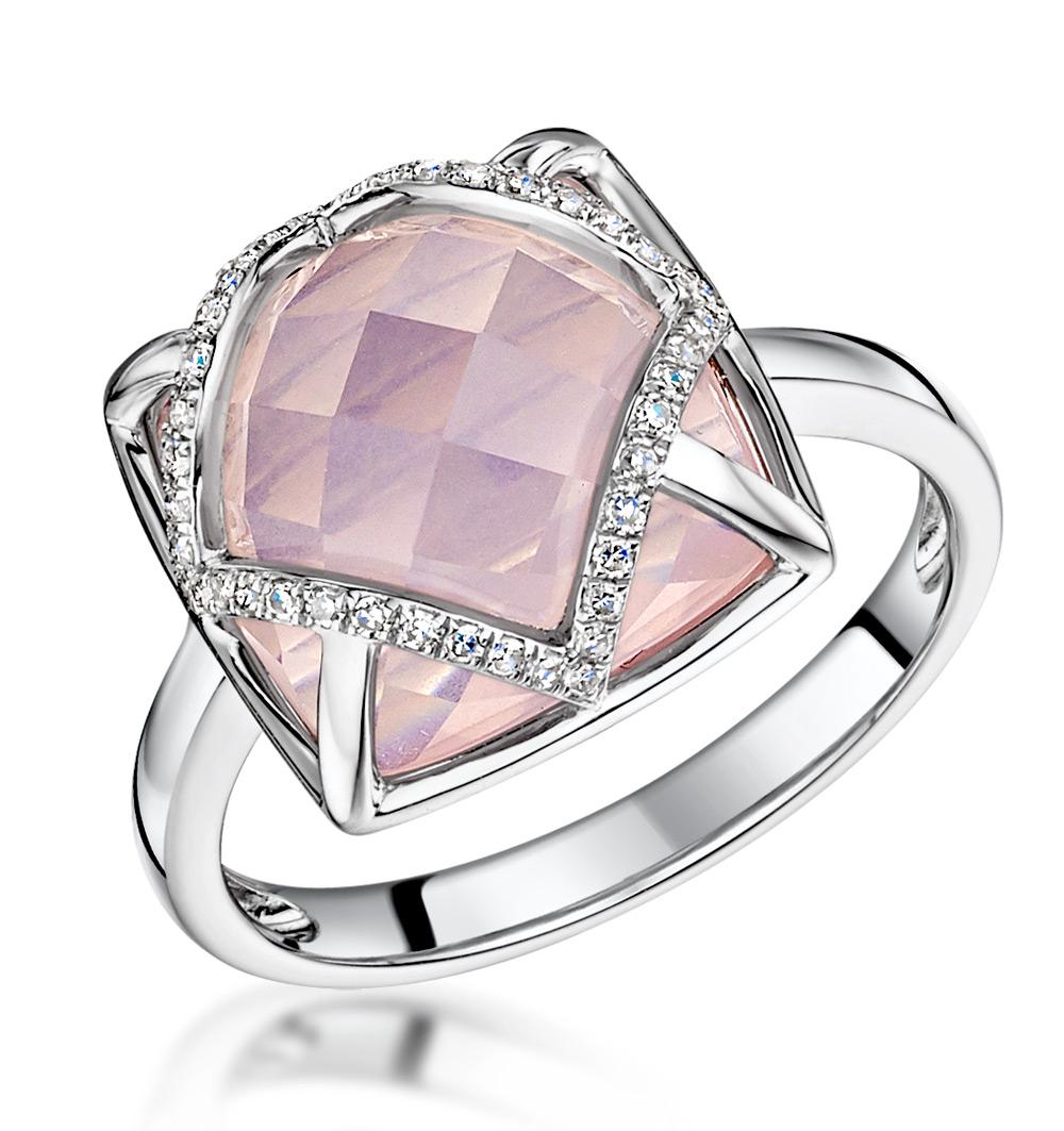 STELLATO COLLECTION ROSE QUARTZ AND DIAMOND RING 9K WHITE GOLD