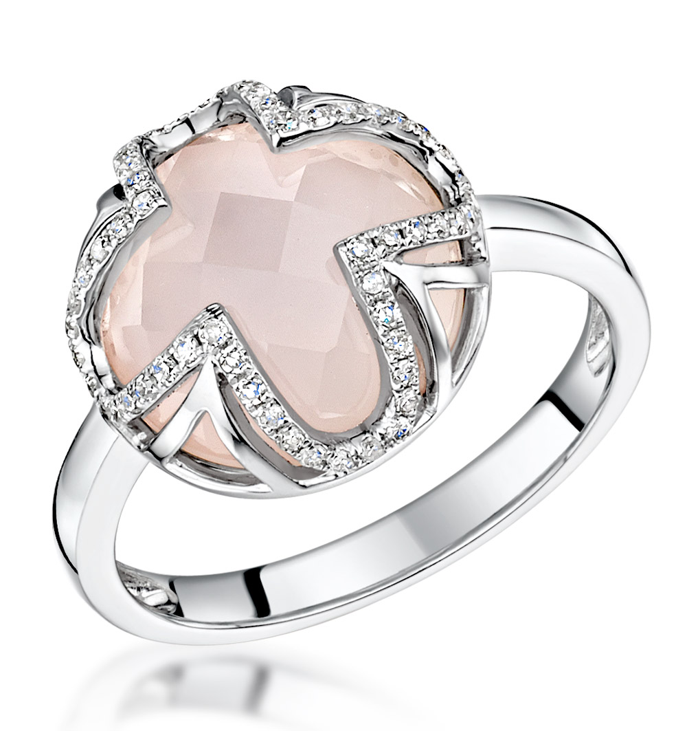 STELLATO COLLECTION ROSE QUARTZ AND DIAMOND RING 0.18CT 9K WHITE GOLD