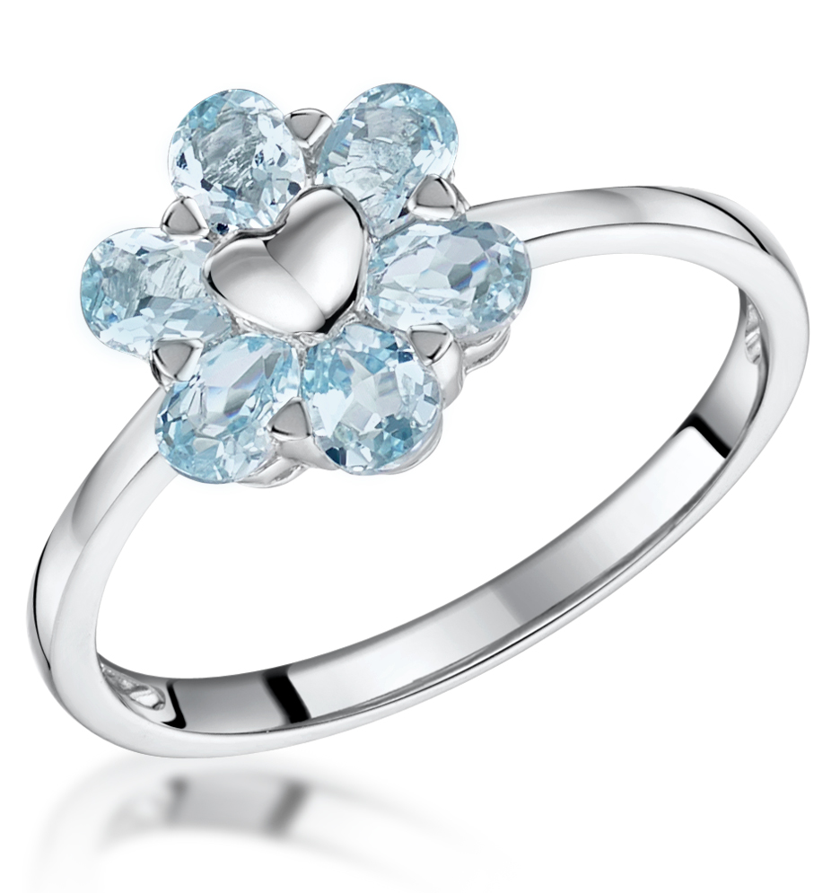 STELLATO COLLECTION BLUE TOPAZ RING IN 9K WHITE GOLD