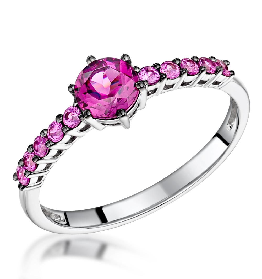 Rhodolite and Pink Sapphire Stellato Ring in 9K White Gold