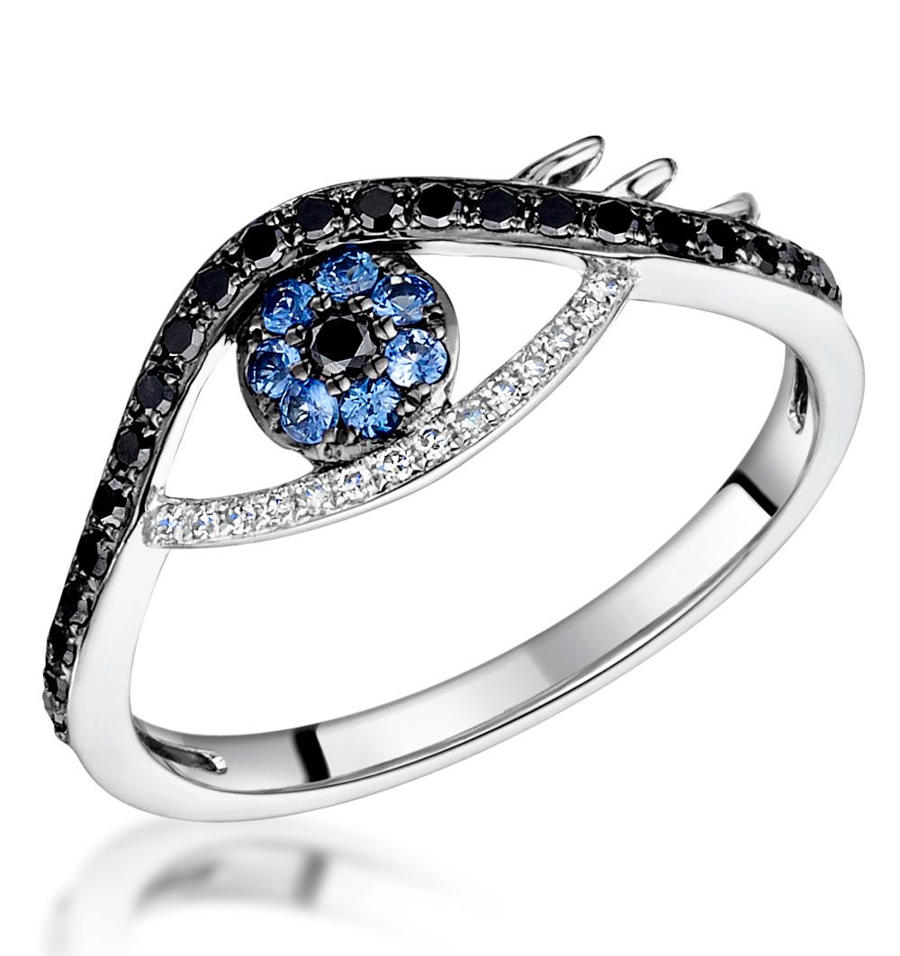BLACK DIAMOND SAPPHIRE EVIL EYE HAMSA STELLATO RING IN 9K WHITE GOLD
