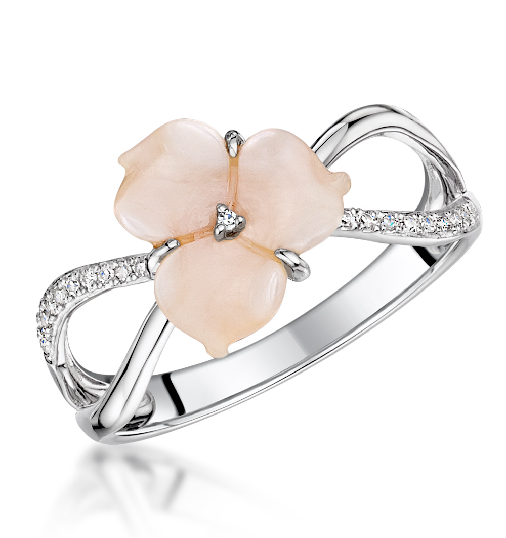 SHELL AND DIAMOND STELLATO RING 0.06CT IN 9K WHITE GOLD