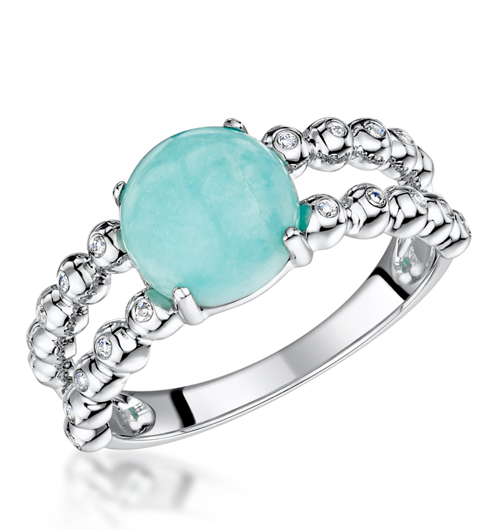 STELLATO COLLECTION AMAZONITE AND DIAMOND RING IN 9K WHITE GOLD