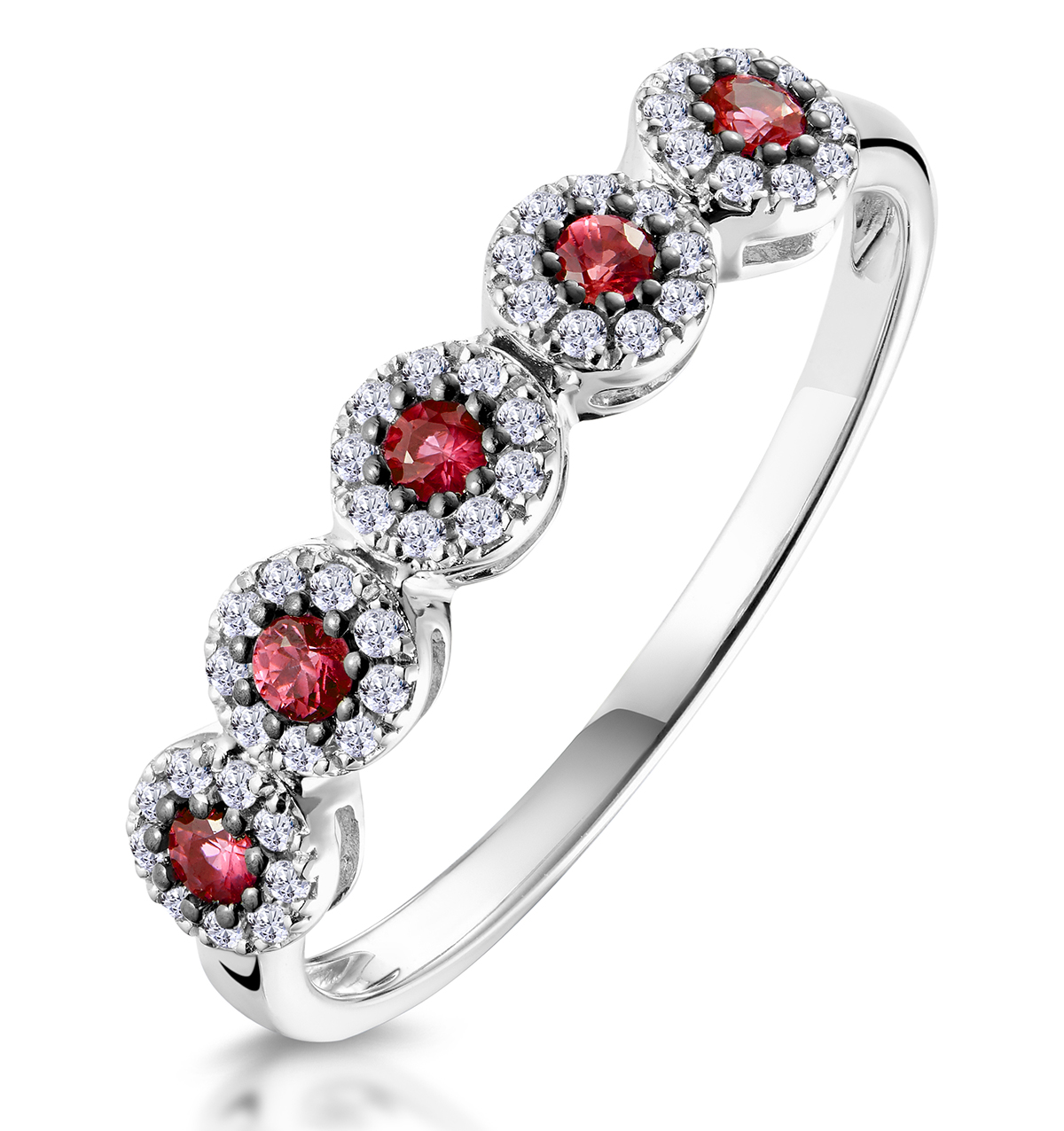 RUBY AND HALO DIAMOND STELLATO ETERNITY RING IN 9K WHITE GOLD