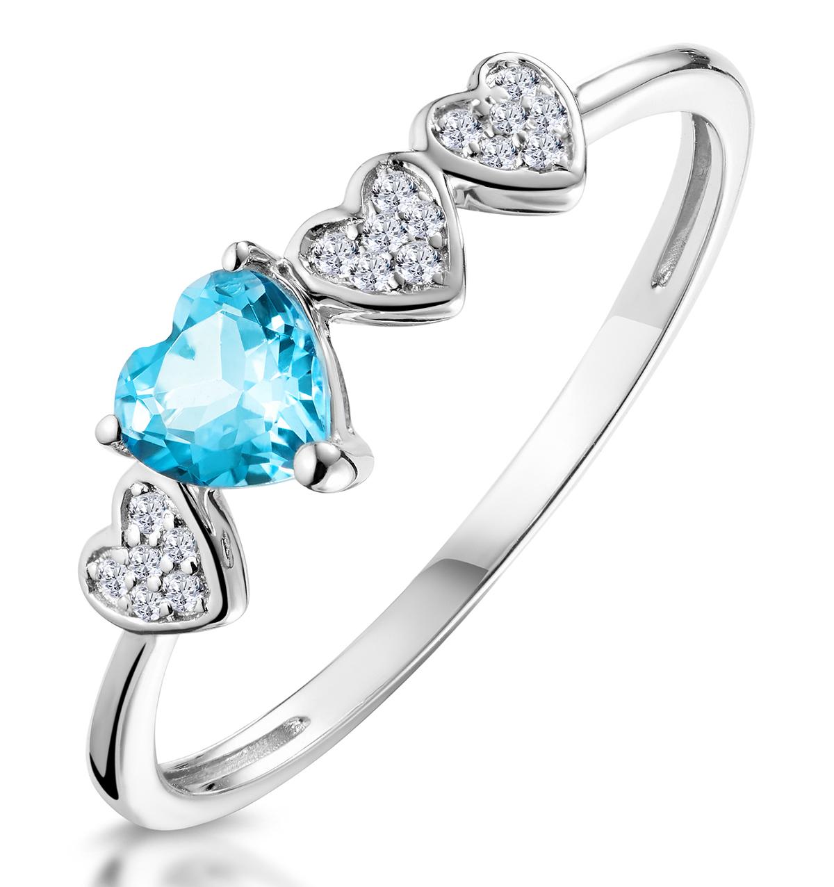 0.39CT SWISS BLUE TOPAZ AND STELLATO DIAMOND RING IN 9K WHITE GOLD