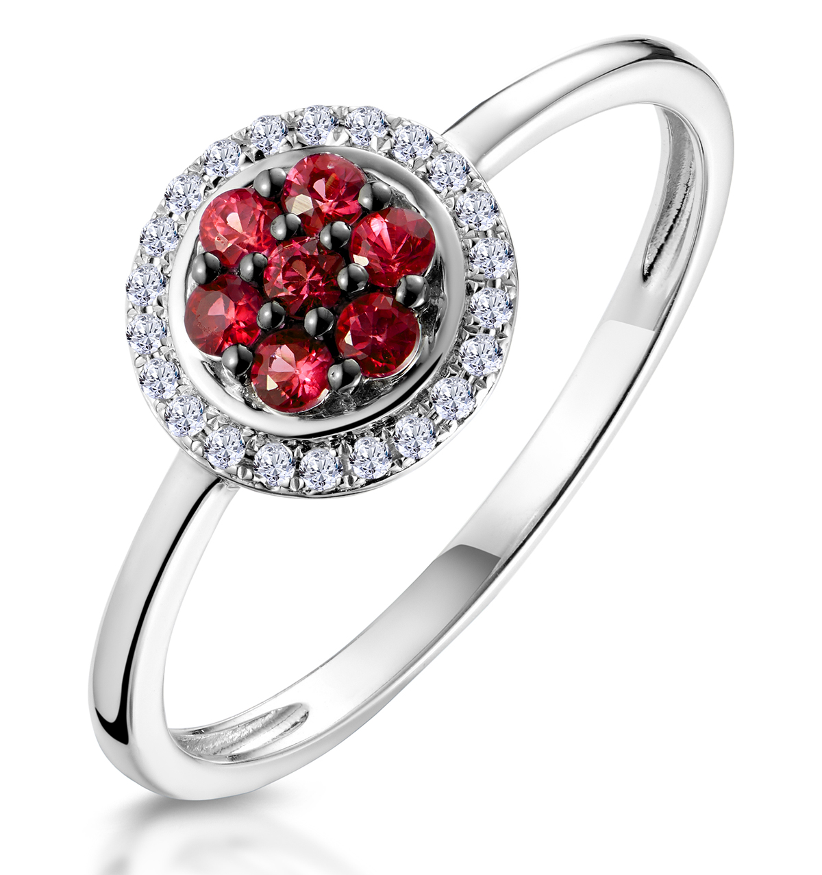 0.22CT RUBY AND DIAMOND RING IN 9K WHITE GOLD - STELLATO COLLECTION