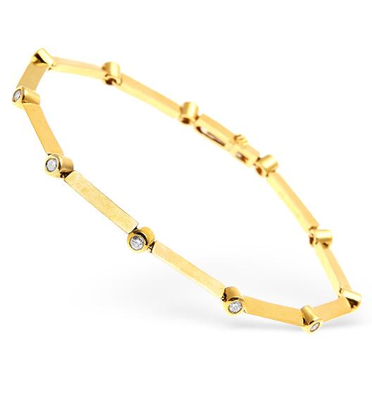 18K GOLD DIAMOND RUBOVER SET LINE BRACELET 0.50CT