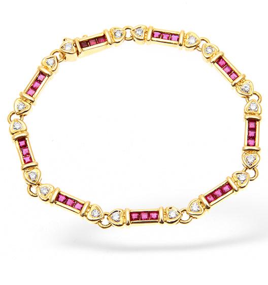 18K GOLD DIAMOND AND RUBY BAR BRACELET 0.50CT