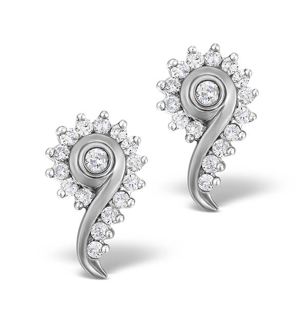 DIAMOND 0.40CT 9K WHITE GOLD EARRINGS - RTC-EG232Y