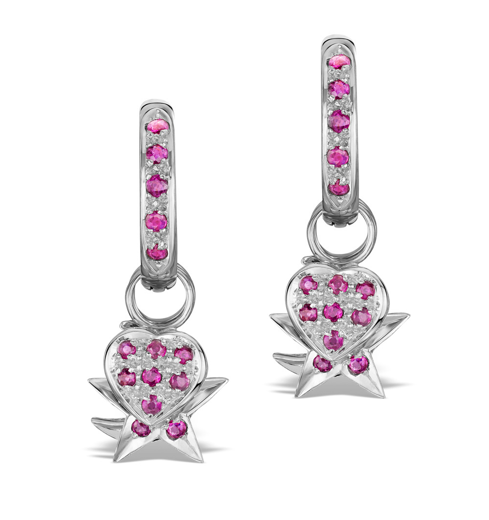 RUBY 2.50CT AND 18K WHITE GOLD EARRINGS - RTC-EG242Y