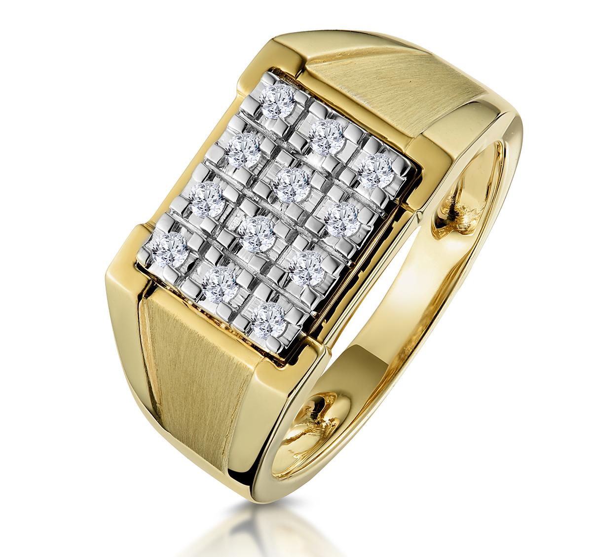 DIAMOND 0.23CT 9K YELLOW GOLD MENS RING