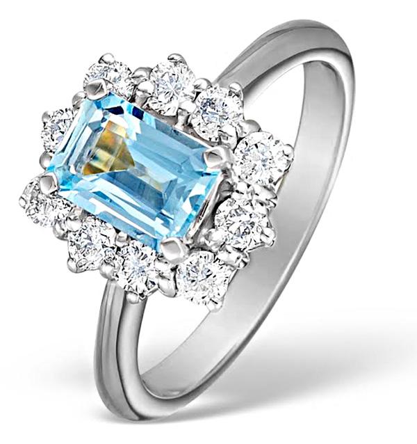 AQUAMARINE 0.85CT AND DIAMOND 0.50CT 18K WHITE GOLD RING