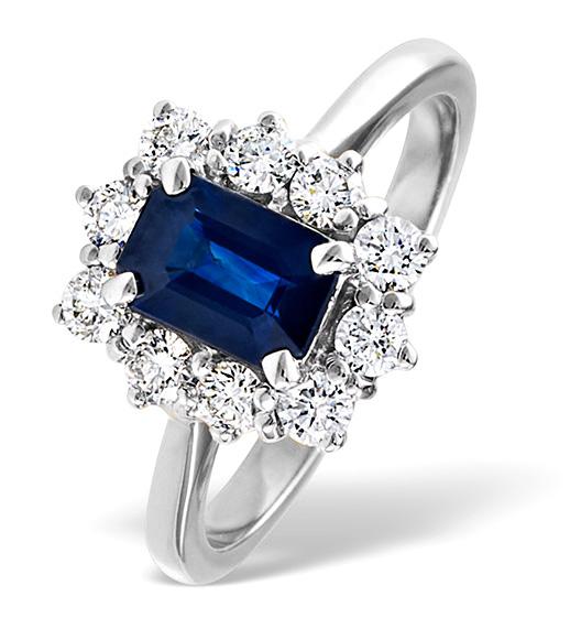 Sapphire 1.15ct And Diamond 0.50ct 18K White Gold Ring