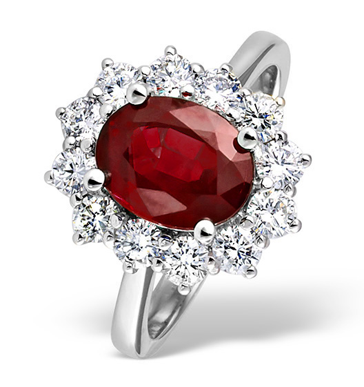 Ruby 2.40ct And Diamond 1.00ct 18K White Gold Ring