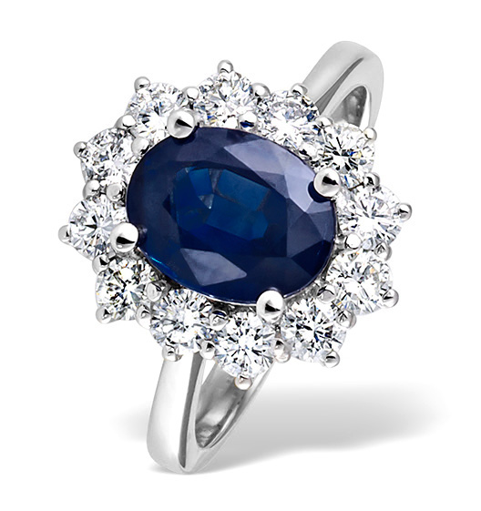 Platinum Sapphire 2.30ct And Diamond 1.00ct Ring