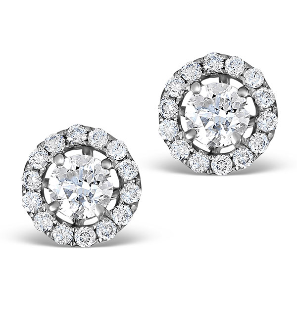HALO DIAMOND EARRINGS - ELLA 18K WHITE GOLD 0.84CT H/SI  FG26