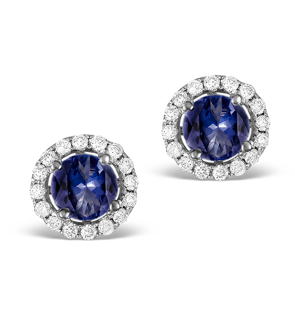 DIAMOND HALO SAPPHIRE EARRINGS 0.75CT -18K WHITE GOLD FG27-UY
