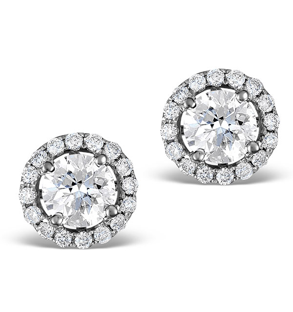 Halo Diamond Earrings - Ella 18K White Gold 1.34ct H/SI  FG27-JUY