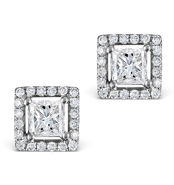 HALO DIAMOND EARRINGS - ELLA PRINCESS CUT 18K WHITE GOLD 1.40CT G/VS