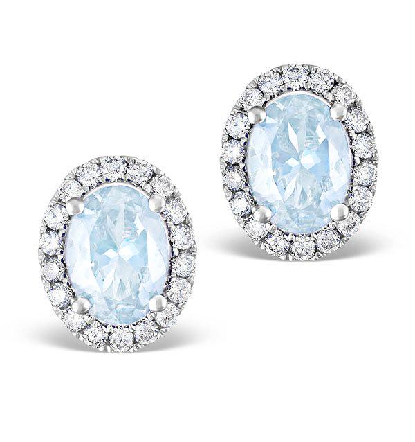 AQUAMARINE 1.40CT AND DIAMOND 18K WHITE GOLD EARRINGS