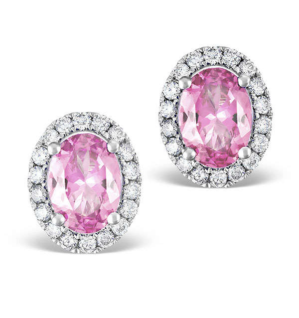 Pink Sapphire 7 x 5mm And Diamond 18K White Gold Earrings