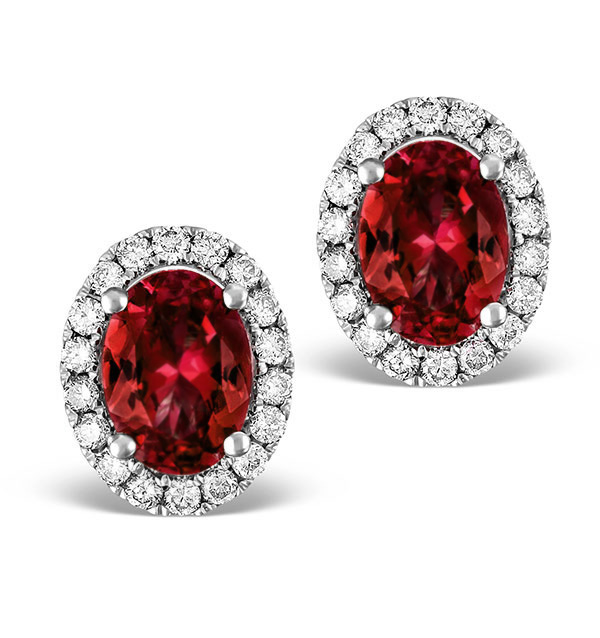 RUBY 2.30CT AND DIAMOND 18K WHITE GOLD EARRINGS